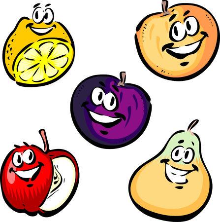 Lemon, Peach, Plum, Apple, Pear Çizim