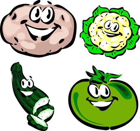 zucchini: Potato, Cauliflower, Zucchini, Green Tomato Illustration