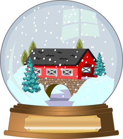 coberto de neve: Snow Globe Ilustra��o