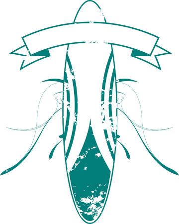 surf vector: Green Surf Board