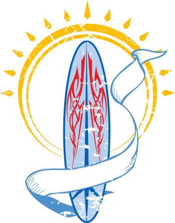 Rode en blauwe Surf Board Stock Illustratie