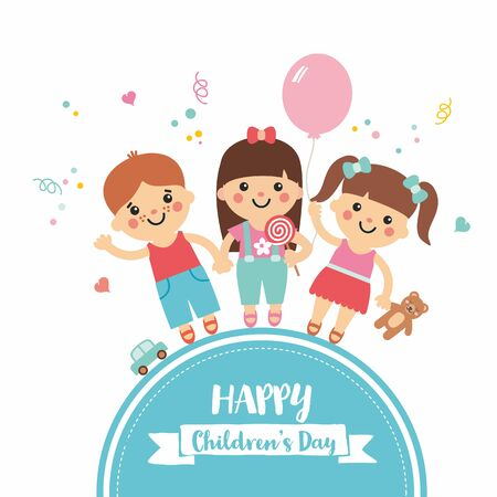 Happy children's day. Cartoon collection with sweet children on blue frame. Boys and girls character with toys. Teddy, balloon, candy, car. Perfect for invitations, banners and greeting cards.