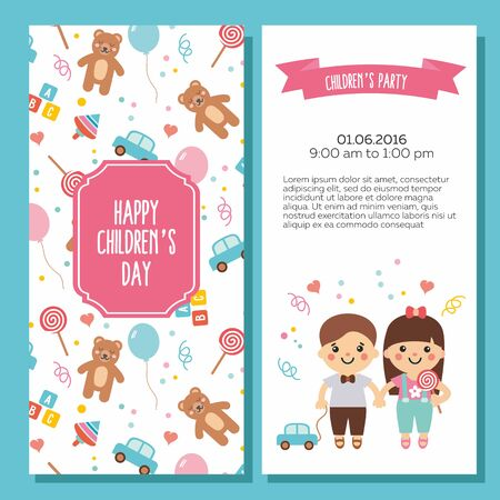 Happy children's day. Lovely card with funny kids and toys pattern. Sweet teddy bear, balloon, bricks, candy, whirligig and car. Perfect for invitations, banners and greeting cards. Illustration