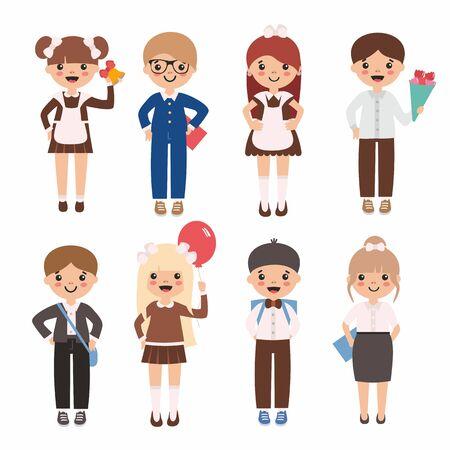Conjunto de niños lindos de la escuela. Niños y niñas felices inteligentes con flores y globos en la graduación. Uniformes rusos clásicos: delantales, moños, media manguera. Última campana. Ilustración de vector
