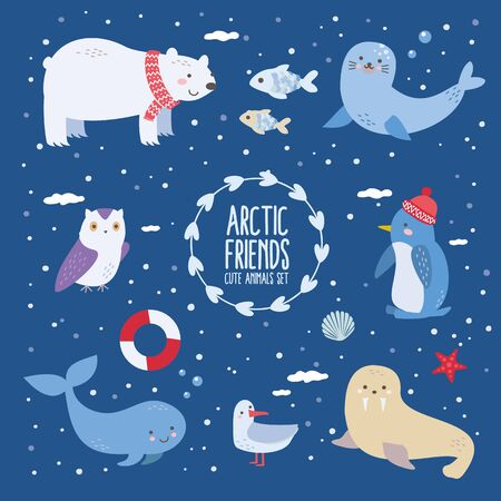 Arctic friends - cute north animals set with polar bear, albatross, penguin, seal, walrus, white owl, whale, fish and sea icons. Ilustracja