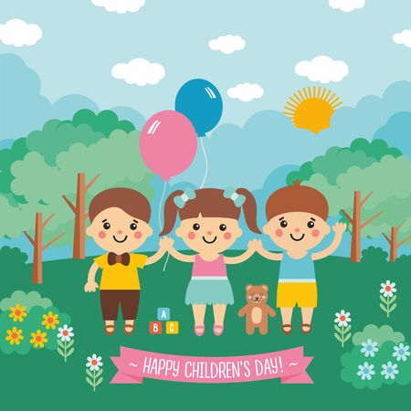 Happy childrens day. Awesome cartoon illustration with funny kids character. Sunny landscape with blue sky, green meadow, forest and flowers.