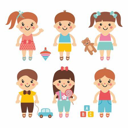 Niños divertidos: linda colección de dibujos animados con niños dulces. Carácter de niños y niñas con juguetes. Peluche, globo, ladrillos, caramelos, perinola y coche. Estilo simple y plano.