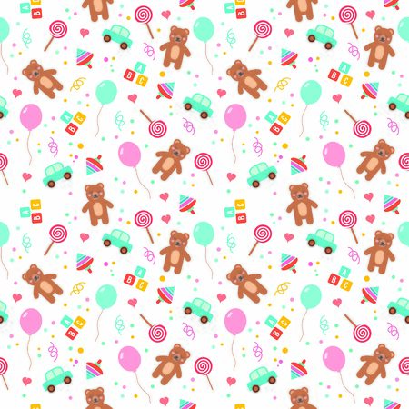 Baby seamless pattern with cute cartoon toys. Teddy, balloon, bricks, candy, whirligig and car. For wallpapers, backgrounds, surface textures and prints.