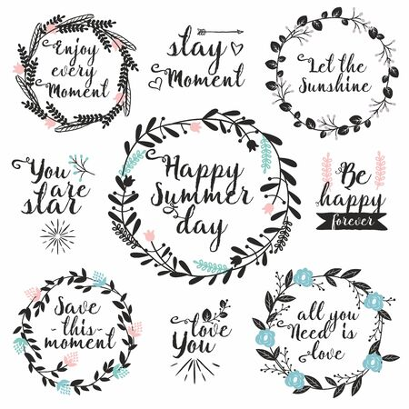 Hand drawn vector set with round floral frames and typography. Perfect for wedding invitations, greeting cards. Rustic decorative elements with lettering.
