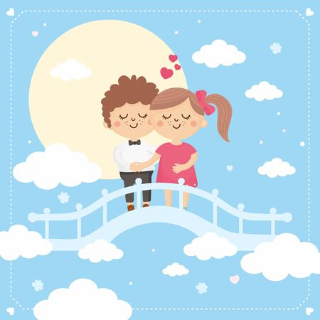 Valentines Day greeting card. Cute illustration with sweet couples. Boy and girl rendezvous on the bridge. Illustration for Valentines Day.