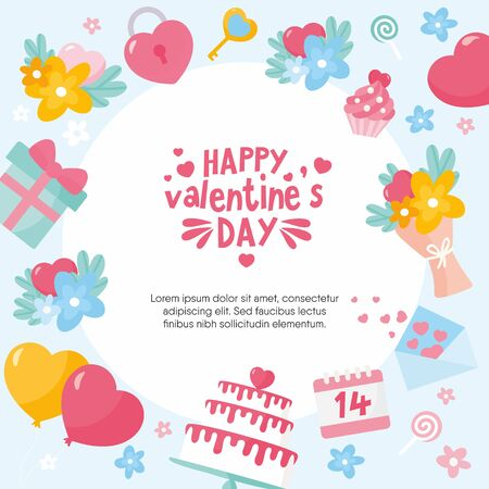 Valentines Day greeting card. Frame with lettering and love theme elements. Creative illustration for your design.