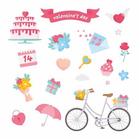 Valentines day set. Romantic concept illustration. Bike, umbrella, heart, floral bouquet, gift box, envelope, cake. Save the Date.