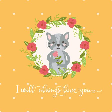 Sweet funny animal in floral wreath. Dog with flower. Perfect for invitations and greeting cards. Illustration for baby in bright style. Illustration
