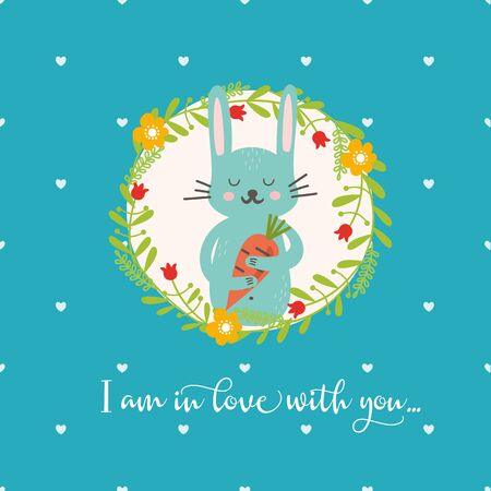 Sweet funny animal in floral wreath. Rabbit with carrot. Perfect for invitations and greeting cards. Illustration for baby in bright style. Zdjęcie Seryjne - 138393914