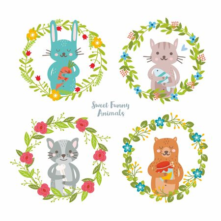 Funny animals collection in summer floral wreath. Rabbit with carrot, cat with fish, dog with bone, bear with jar of honey. For invitations and greeting cards. Illustration for baby.
