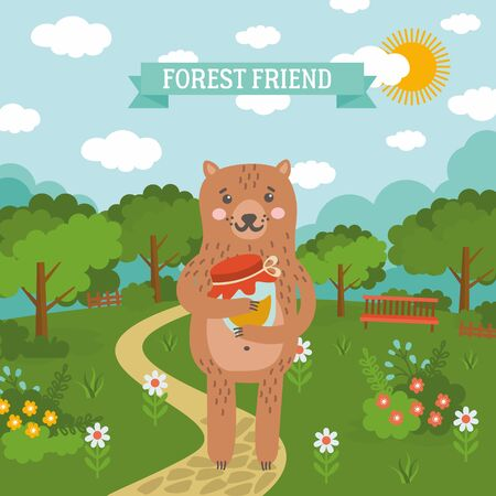 Summer nature cartoon illustration with cute bear. Sunny day landscape with blue sky, green meadow, forest and flowers.