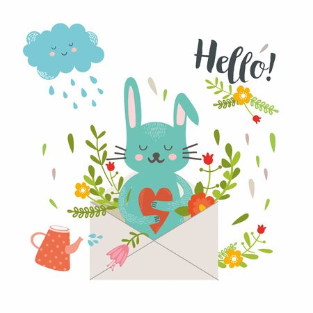 Happy summer day. Lovely card in bright colors. Funny bunny with carrot in floral wreath. Perfect for invitations and greeting cards