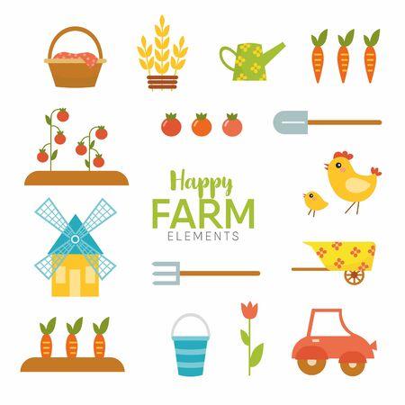 happy farm nature flat elements with vegetables, chicken, tulips, cart Ilustração