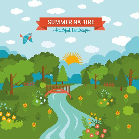 Summer nature awesome cartoon illustration. Sunny day landscape with blue sky, river, green meadow, forest and flowers.