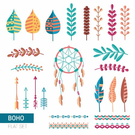 Boho ethnic flat set with leaves, plants and dreamcatcher. Simple and flat hipster style. Colorful vintage collection.