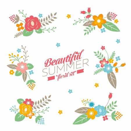 Collection with cute summer bouquet and typography. Set of retro flowers, branches and leaves.