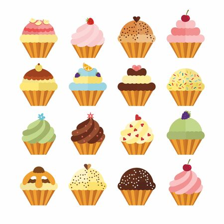 Delicious cupcakes and muffins vector set. Illustration in flat style. Birthday cakes with chocolate, berries, cream and fruits.