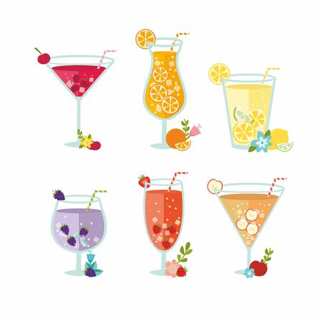 Set of variety alcohol cocktail by glasses. Summer ice fruit drinks with lemon, apples, blackberry, cherry, orange and strawberry. Simple and flat style.