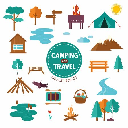 Big set of camp and travel symbols and icons. Collection with tent, trees, mountains sign.