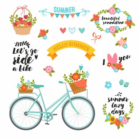 Romantic summer set in bright colors. Cute collection with typography, bike, flowers bouquet, basket, wreath and heart. Perfect for wedding invitation, cards and banners.