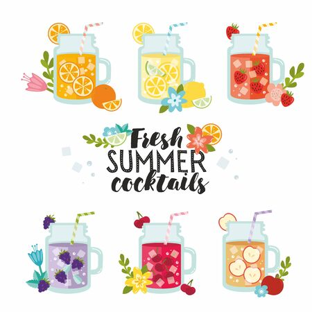 Fresh summer cocktails. Lemonade and juices collection. Summer ice fruit drinks in jugs with lemon, apples, blackberry, cherry, orange and strawberry. Typography with flowers.