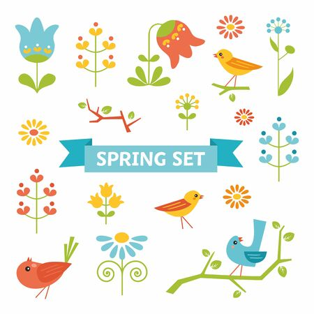 Cute spring set with birds, flowers, leave Ilustrace
