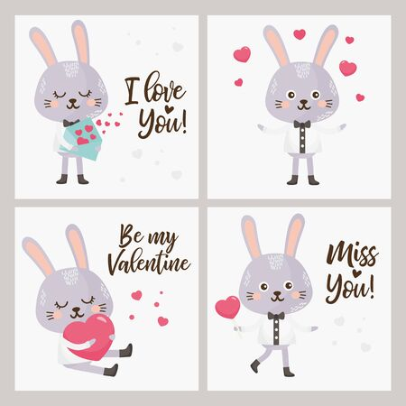 Valentine's Day Greeting card set. Illustration with sweet rabbit, lettering and other love elements.