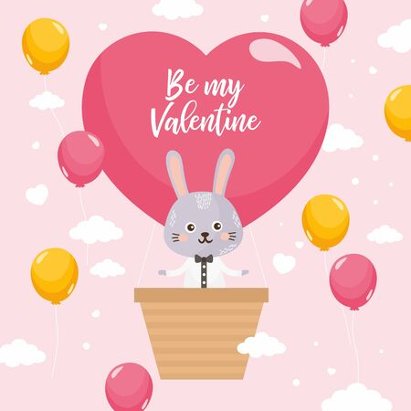 Valentines Day greeting card. Hare fly in a balloon. Big heart with lettering and love theme elements.