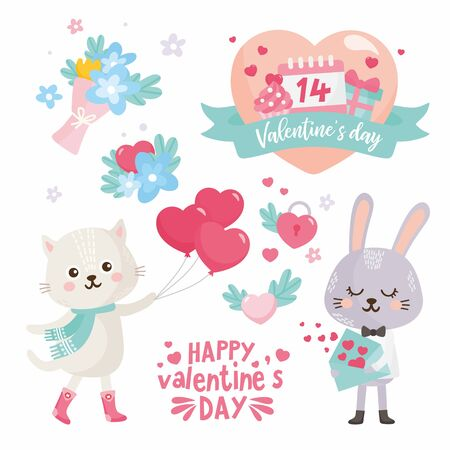 Set of Valentine's Day elements. Cute illustration with sweet rabbit, cat with heart balloons, flower bouquet. Big heart with lettering. Ilustração