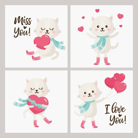 Valentine's Day Greeting card set. Illustration with sweet cat, lettering and other love elements.