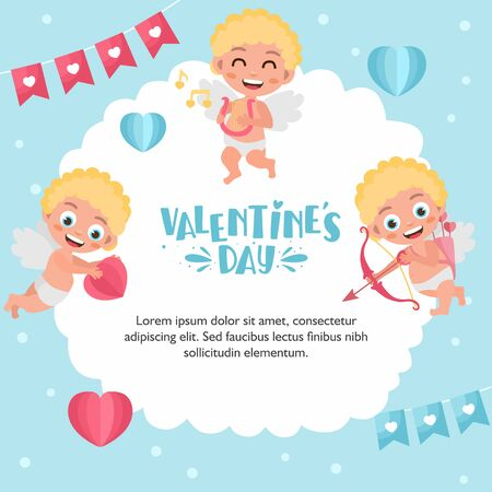 Romantic greeting card. Illustration of cute cartoon cupids. Cupid angels shoots a bow, flies in the clouds. Original holiday design. Template for banner, Valentine s Day poster. Ilustração