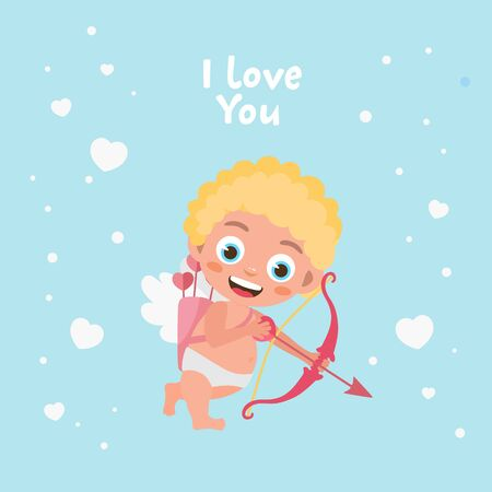 Romantic greeting card. Illustration of cute cartoon cupid. Cupid angel shoots a bow. Original holiday design. Template for banner, Valentine s Day poster.
