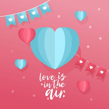 Cute Valentine s Day greeting card. Hand-lettering message Love is in the Air , paper hearts and garland. Romantic template for invitation, banner, poster. Stock Illustratie