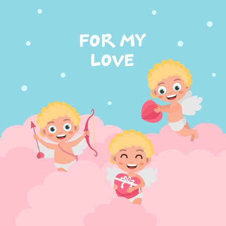 Valentines day greeting card. Cute baby cupid characters with hearts. Amur with a bow, flies in the clouds, holding a gift.