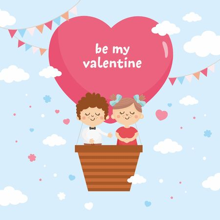 Valentines Day greeting card. Sweet couple fly in a balloon. Big heart with lettering and love theme illustration.