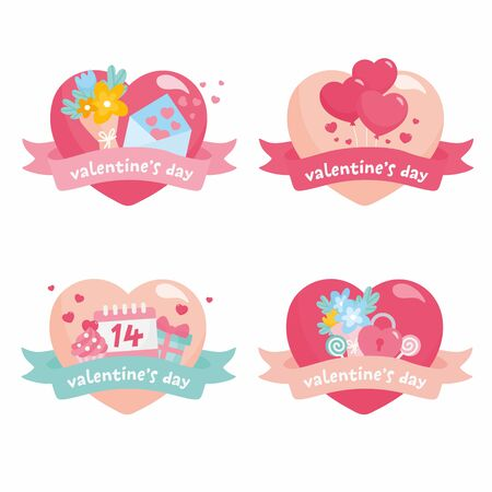 Set of cute heart shaped Valentines Day stickers. Heart labels with envelope, flowers bouquet, calendar and sweet candies.