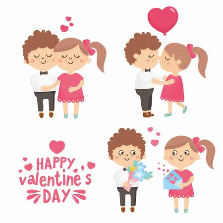 Set of happy Valentine's Day couple in love on date. Romantic relationship lover illustration. Boyfriend give flower. Vectores