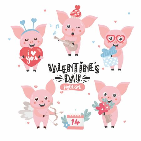 Cute piglet with heart, balloon, flowers in cartoon style. Funny Valentines day character in vector. Childish concept illustration. Hand drawn letters.