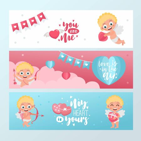 Valentines day horizontal banner set. Cute baby cupid characters with hearts. Amur shoots from a bow, flies in the clouds. Ilustração
