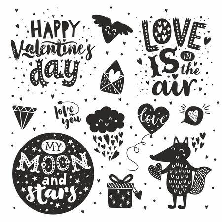 Happy Valentines Day hand drawn set. Handwritten calligraphy text on white background. Amazing love message: