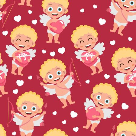 Seamless pattern for Valentines Day. Bright illustration with cupids and hearts. Background for fabric print, texture and wrapping paper.