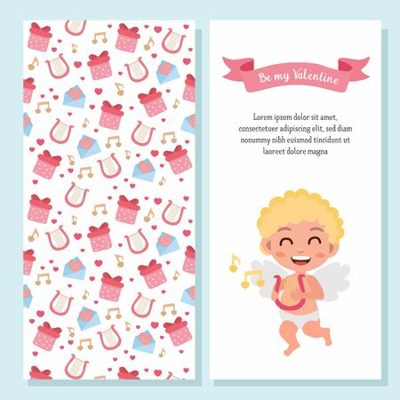 Valentines Day greeting card set. Illustration of cute cartoon cupid. Cupid angel with arp and hand-lettering. For postcard or invitation.