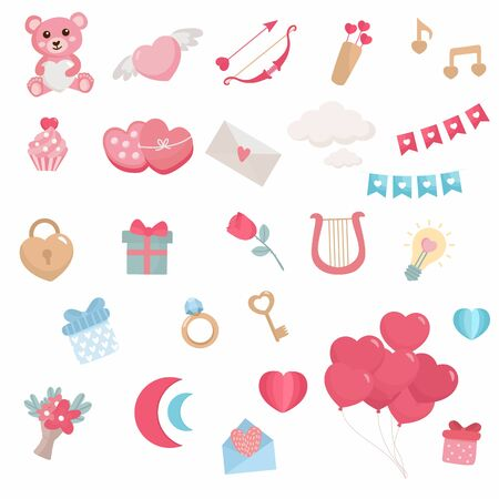 Valentines day set. Romantic concept illustration. Heart balloons, flowers, gift, teddy bear. Save the Date.