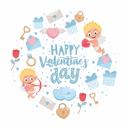 Romantic greeting card. Hand-lettering message Happy Valentine's Day . Template for wedding invitation, banner, Valentine s Day poster. Original holiday design with cupid angels. Ilustração