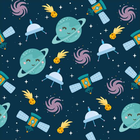 Space seamless pattern. Kids illustration with different elements of space. Cute planets, stars, ufo, Milky Way. Outer space. Reklamní fotografie - 140635686
